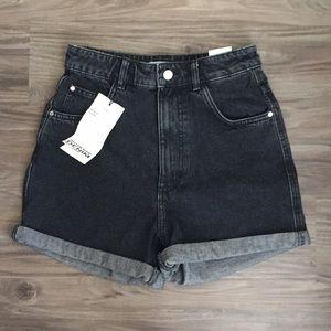 NWT Zara Black Mom Jean Shorts